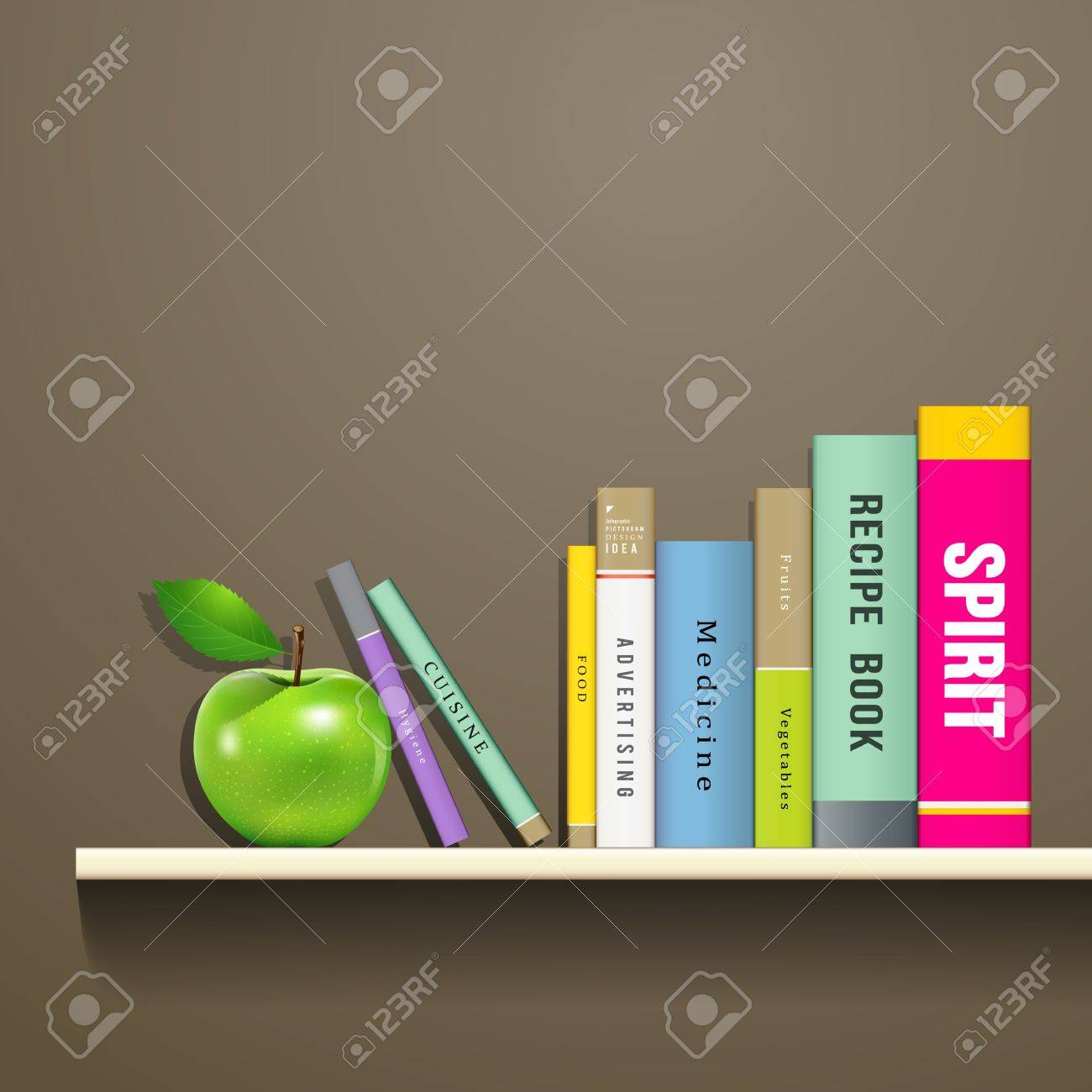 Row of colorful books and green apple on shelf Stock Vector - 20682766