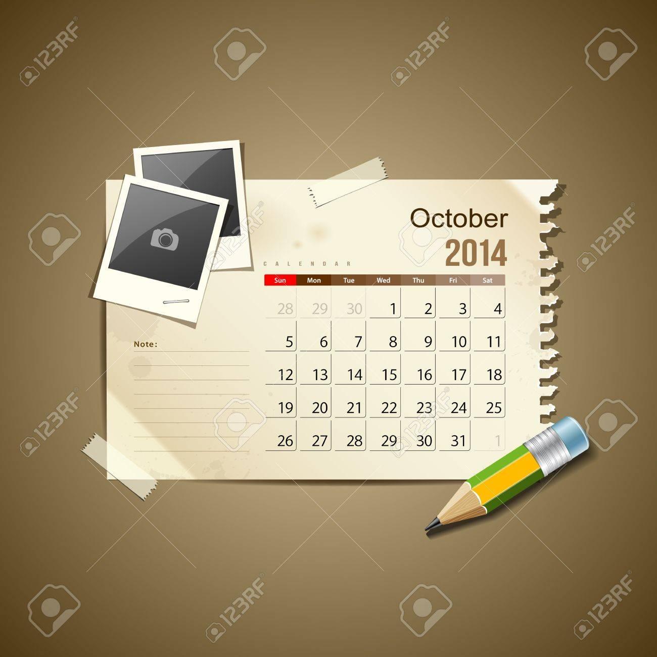 Calendar October 2014, vintage paper note Stock Vector - 21087281