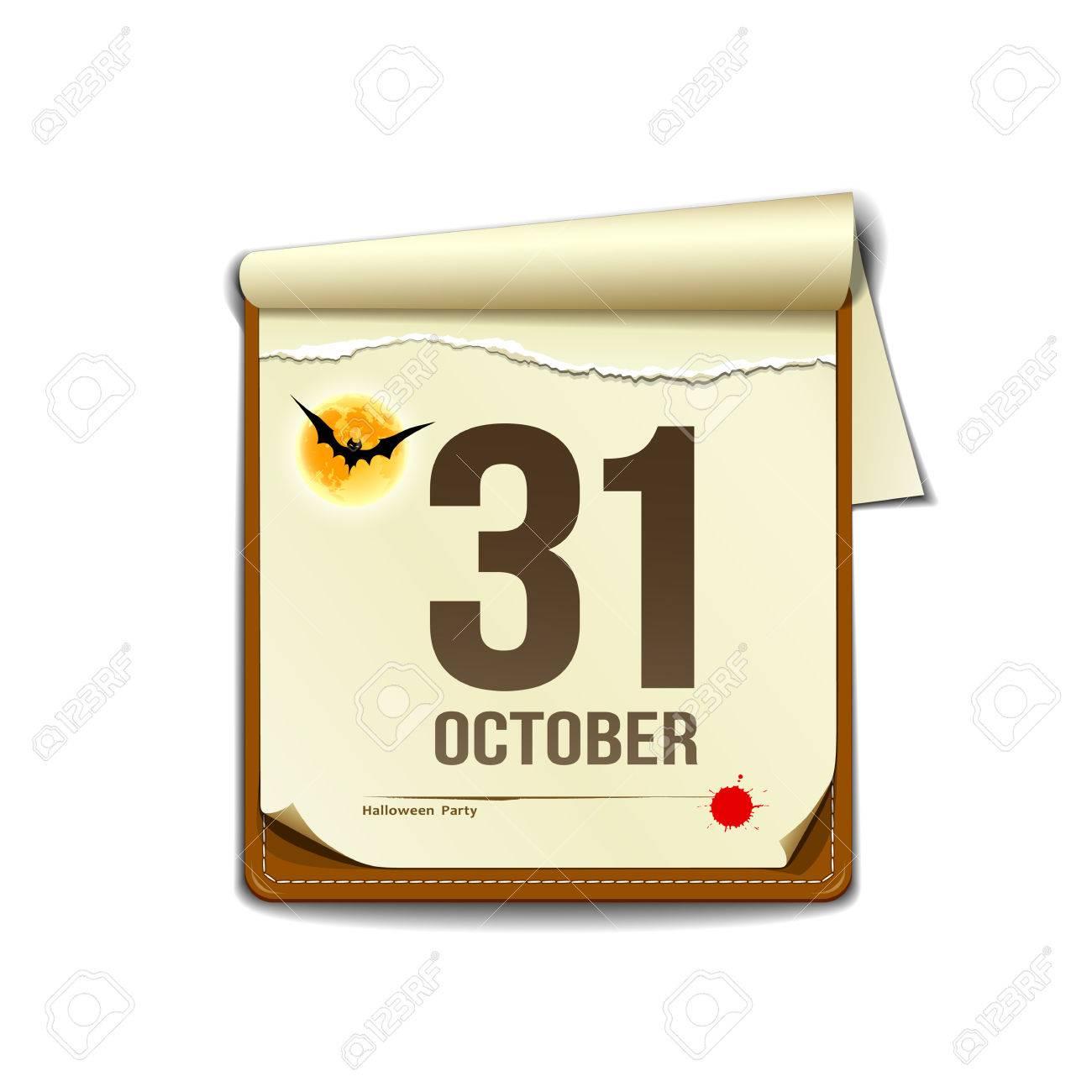 Paper October calender in halloween party design Stock Vector - 22815648