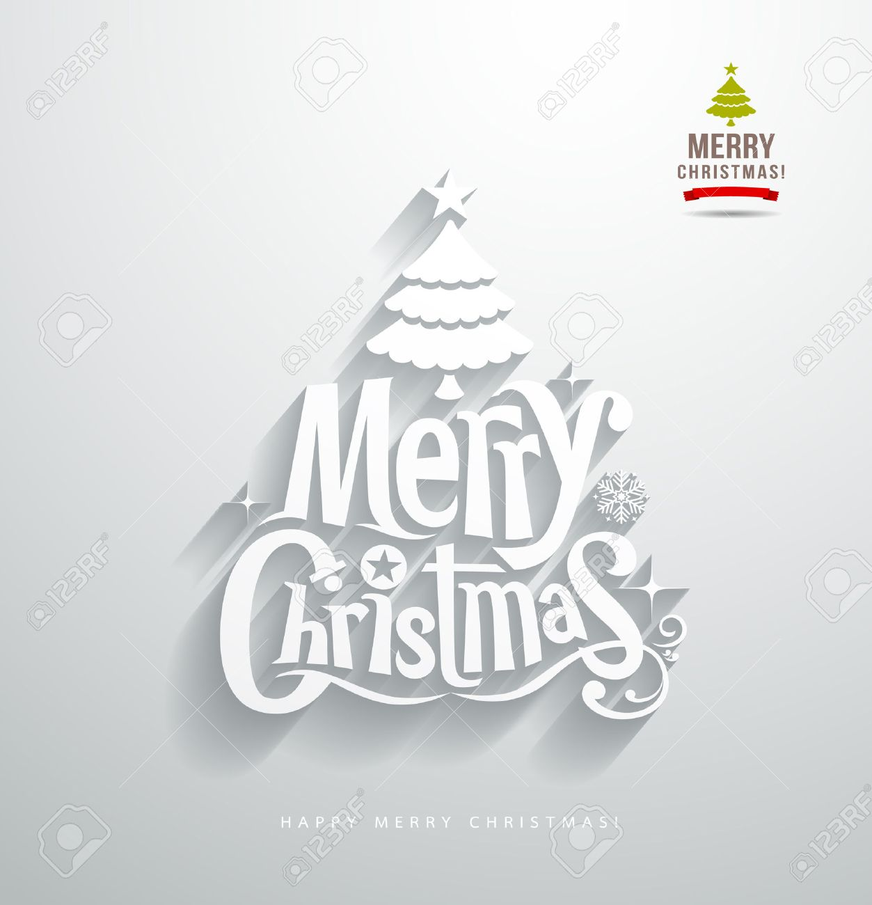 Merry Christmas, lettering paper cut design background Stock Vector - 24187515