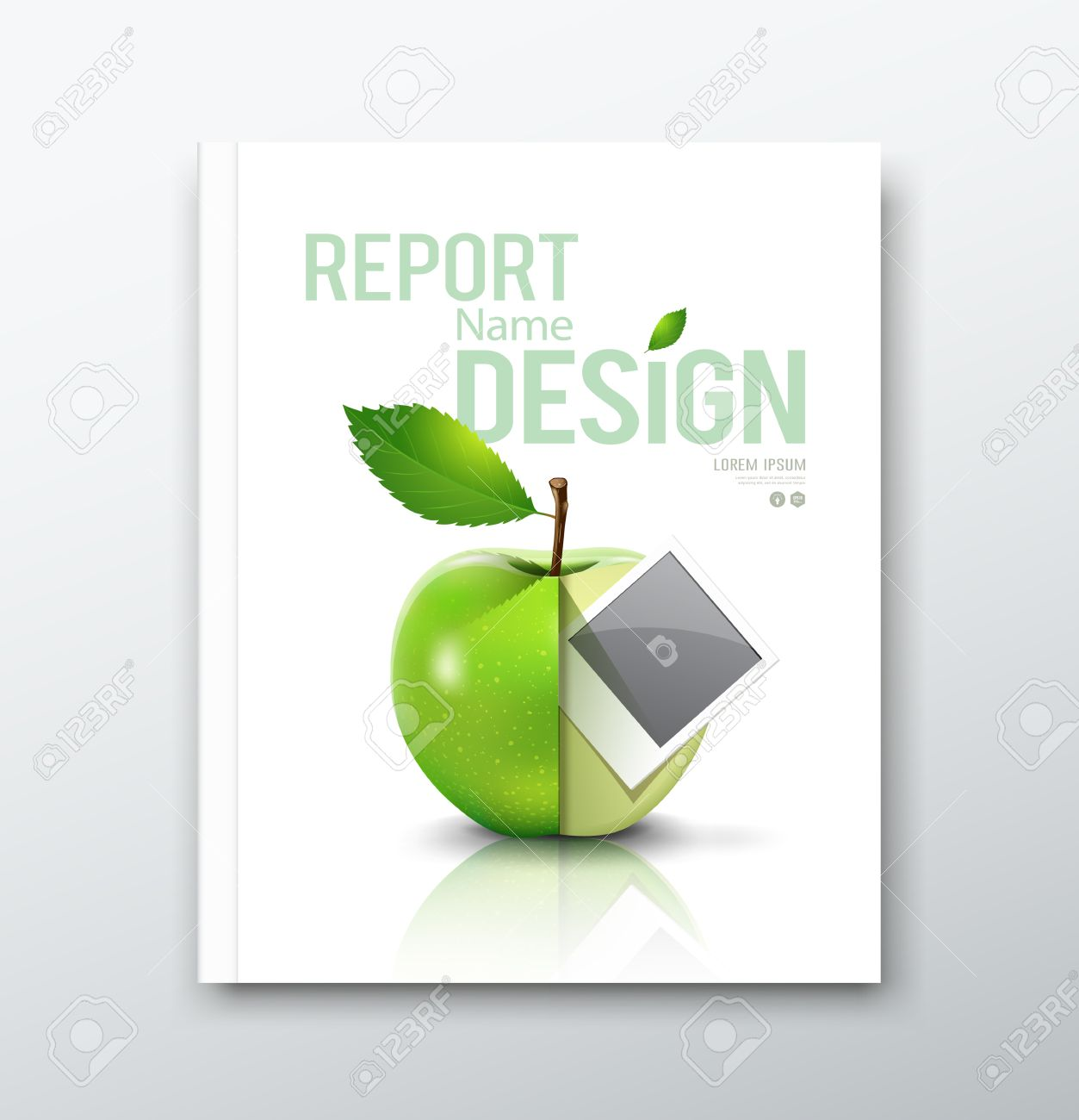cover annual report green apple and instant photo design cover annual report green apple and instant photo design background stock vector 27853603