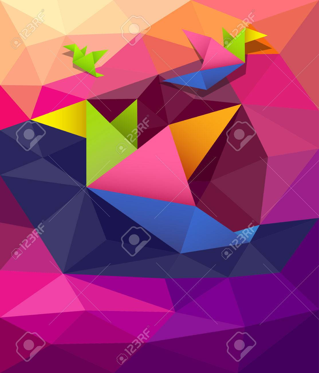 Colorful origami paper birds shape geometric design background Stock Vector - 27888256