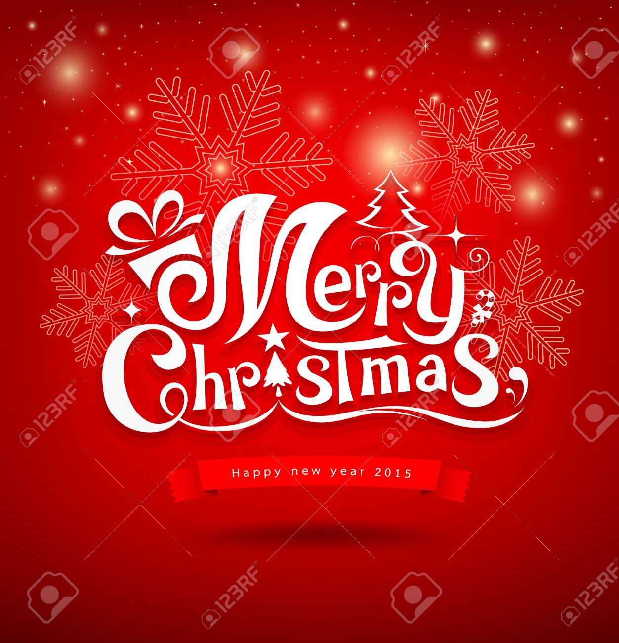 Merry Christmas Greeting Card Lettering Design Stock Vector   34549281