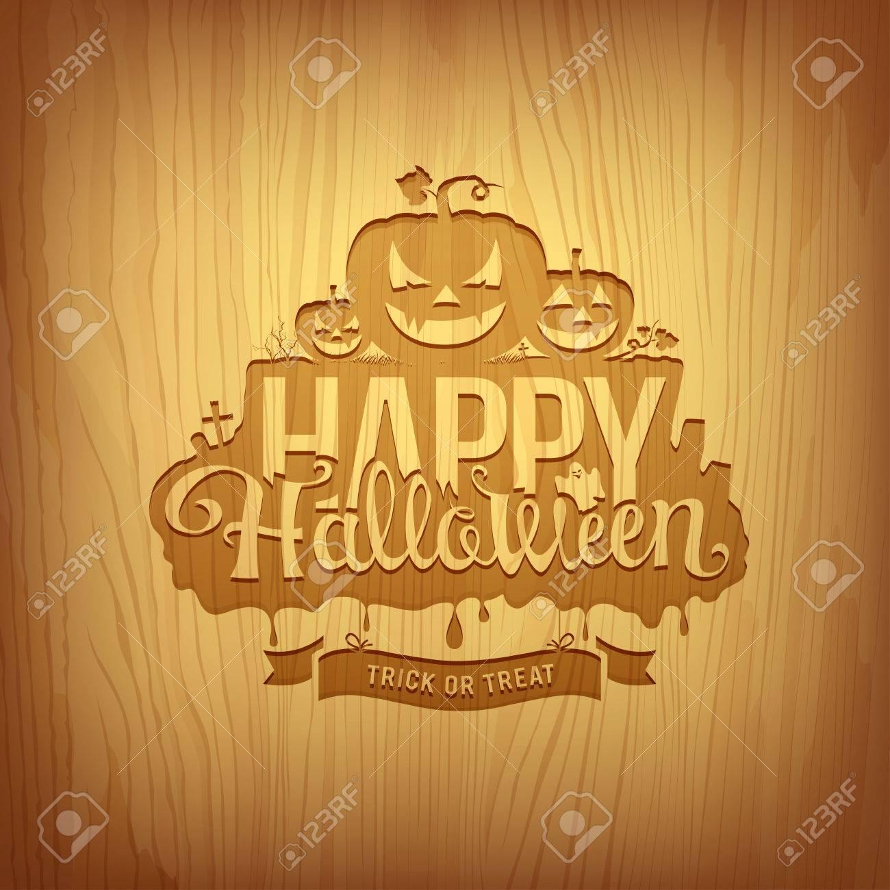 Wood carving happy halloween design, vector - 35229887