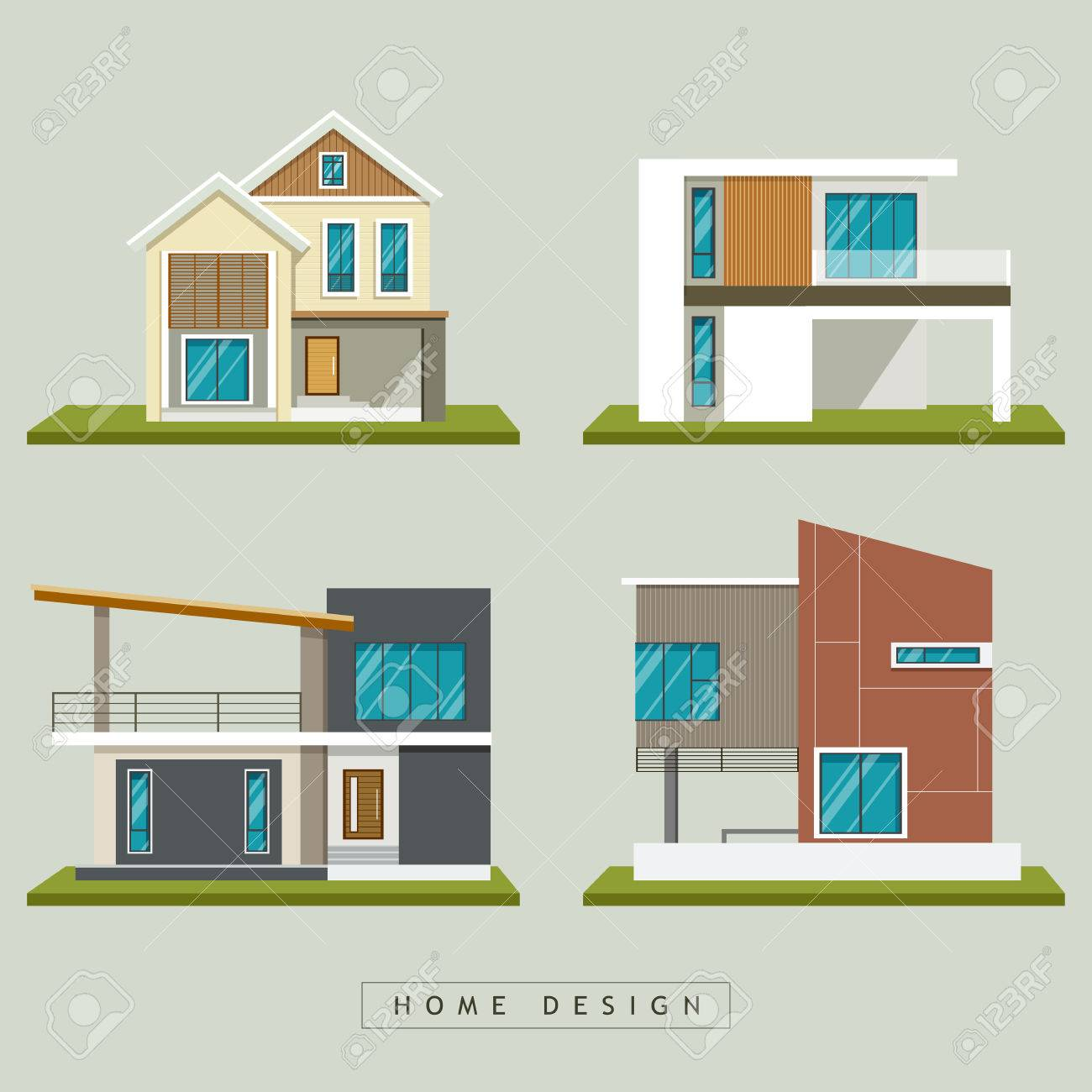 Home Exterior Design Collections, Vector Illustration Royalty Free ...