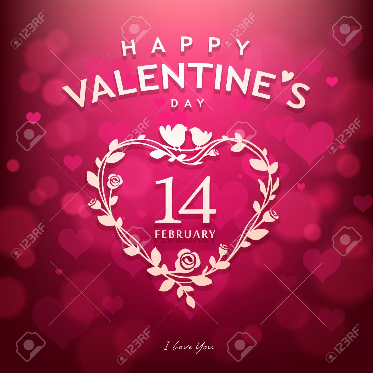 Happy Valentines Day Design Pink Background Royalty Free Cliparts