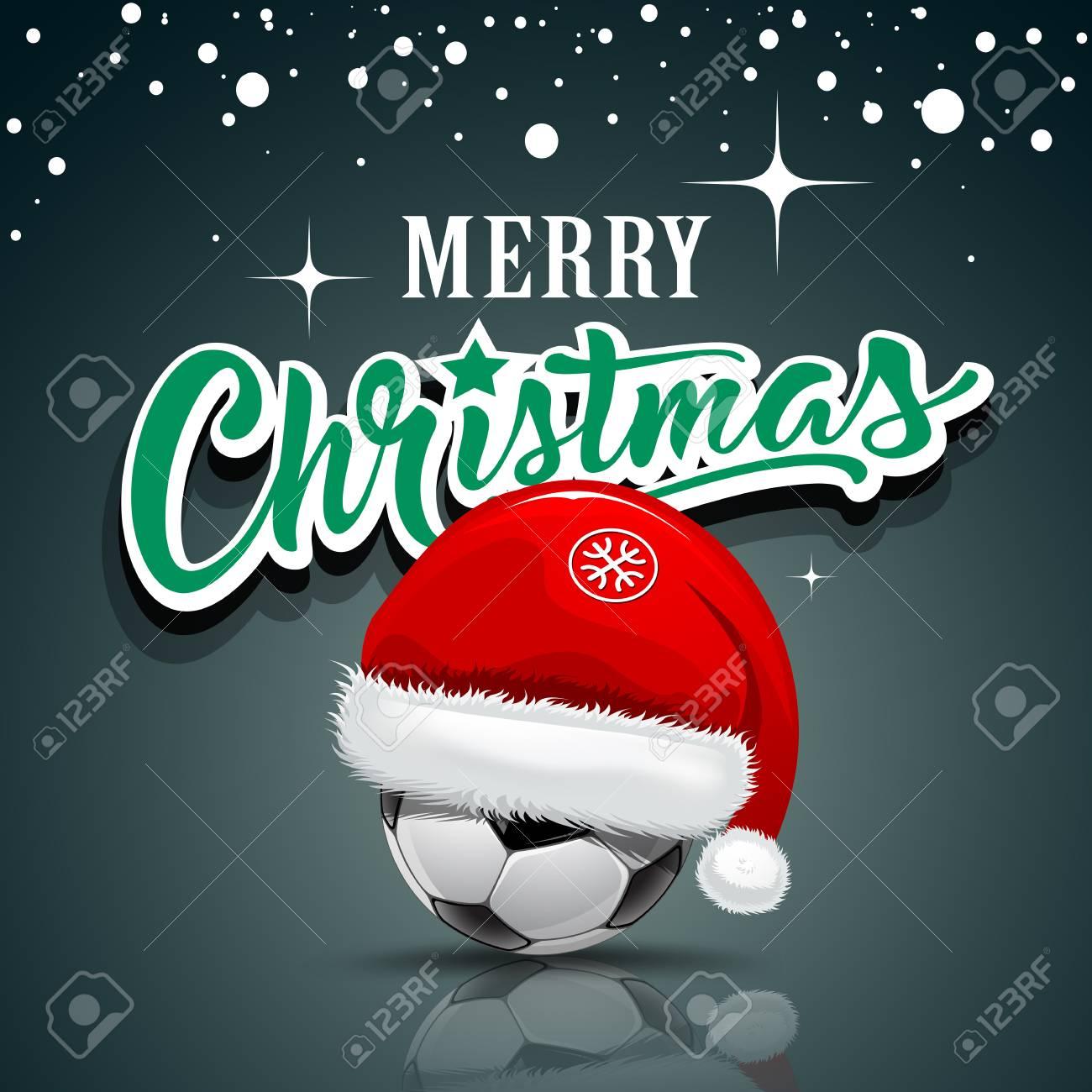 Frohe Weihnachten, Sankt-Hut Auf Fußballkugeldesignhintergrund ...