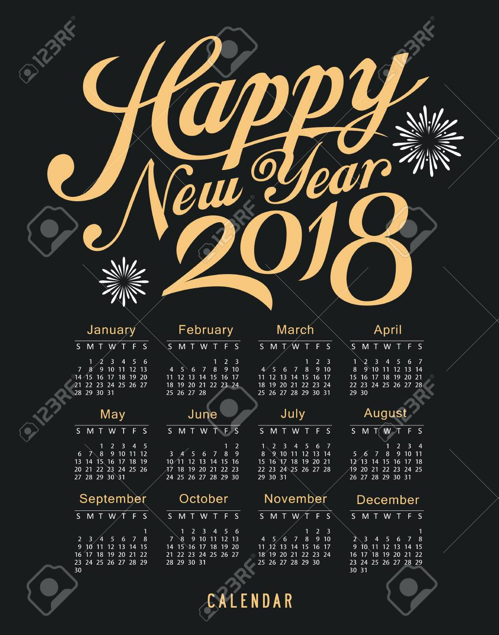calendar happy new year 2018 message black and gold template design background vector stock vector