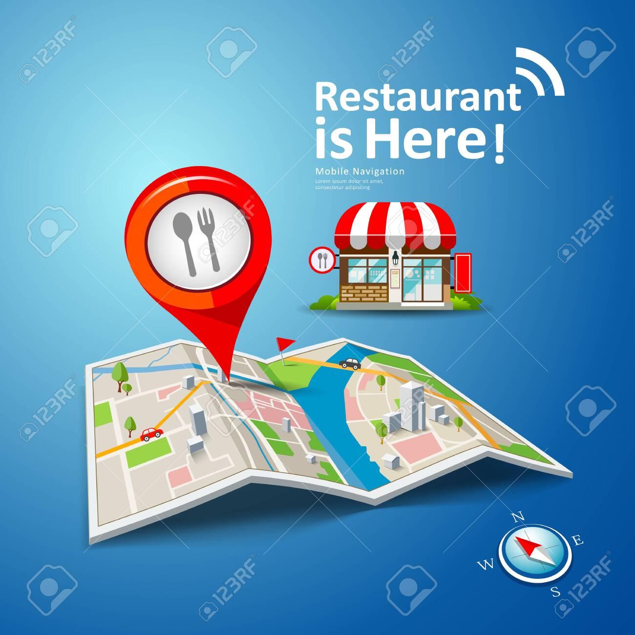 Folded Maps Vector With Red Color Point Markers Restaurant Is Here Design Ilustraciones Vectoriales Clip Art Vectorizado Libre De Derechos Image 132297321