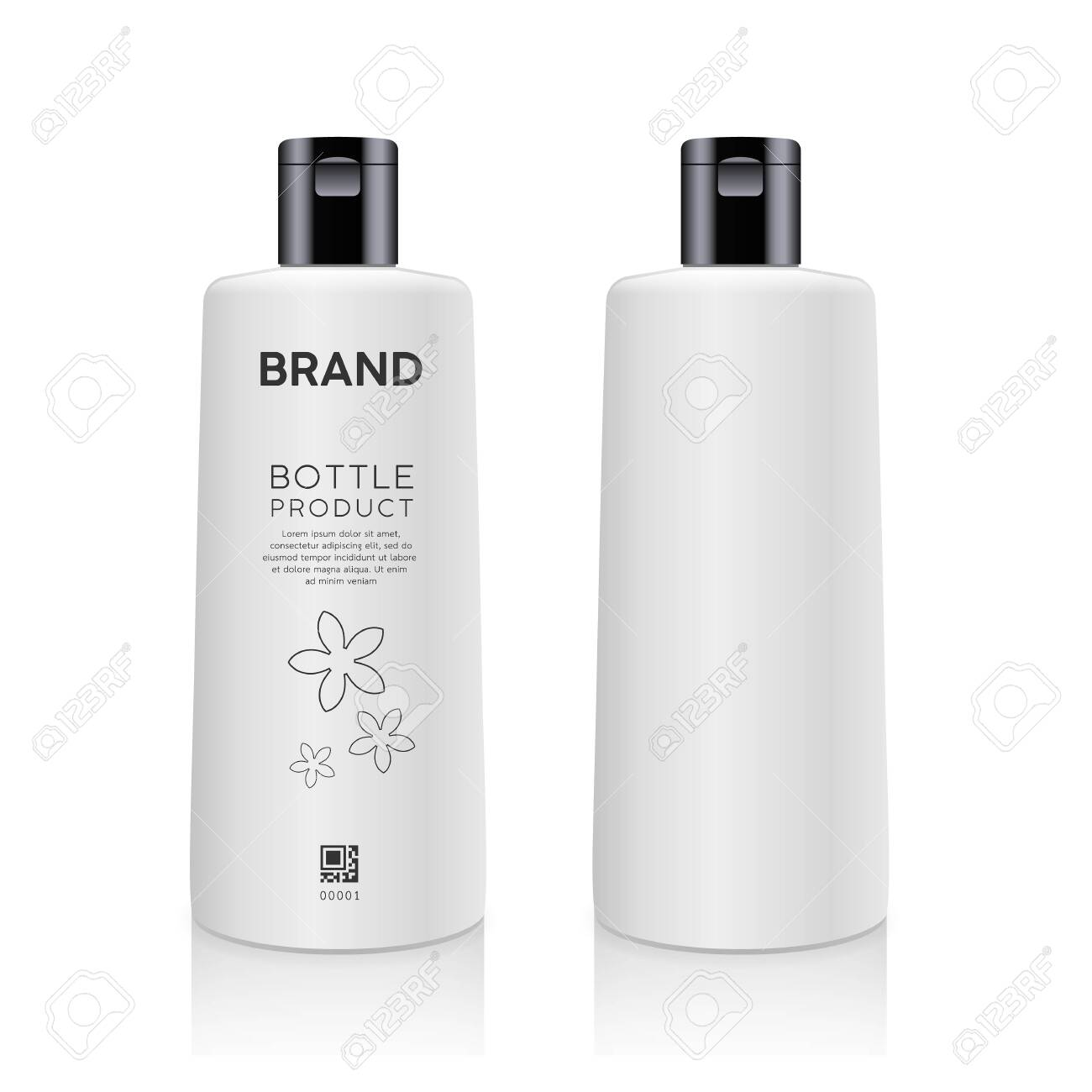 Bottle white products mockup design collection isolated on whtie background vector illustration - 149373994