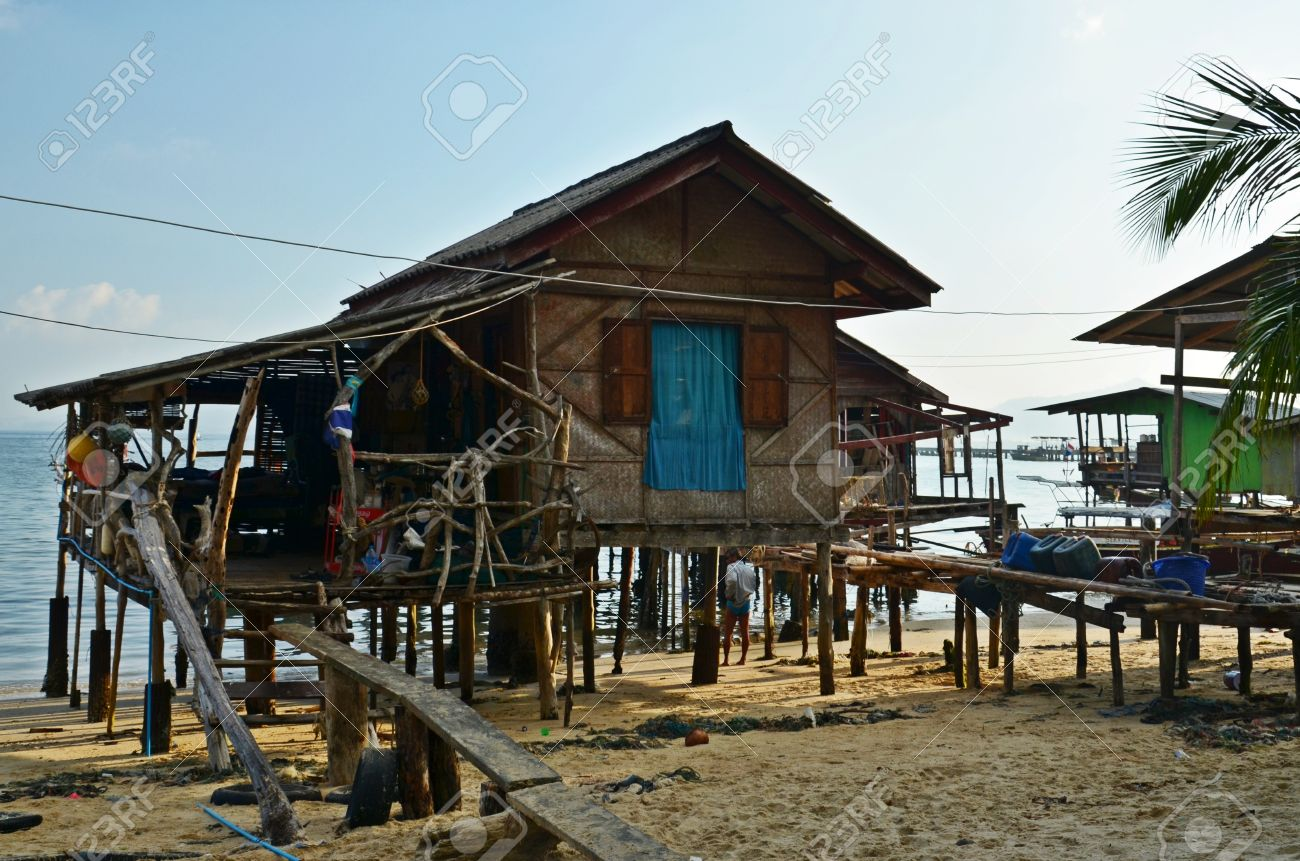 Stock Photo   Thai Wooden House On Stilts On The Beach Of Ko Mook Island,  Thailand