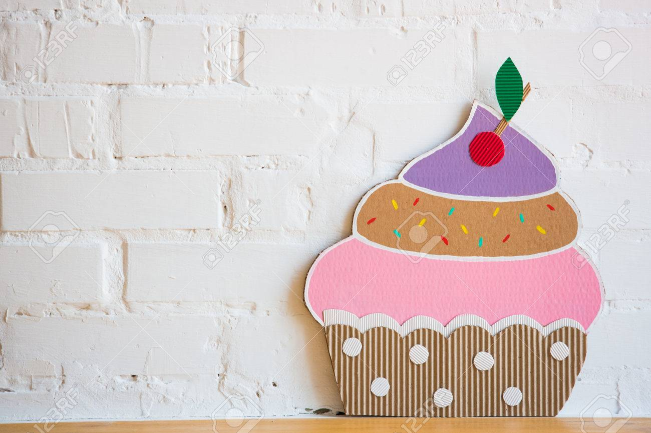 Colored Cakes Handmade of Paper On White Background Stock Photo