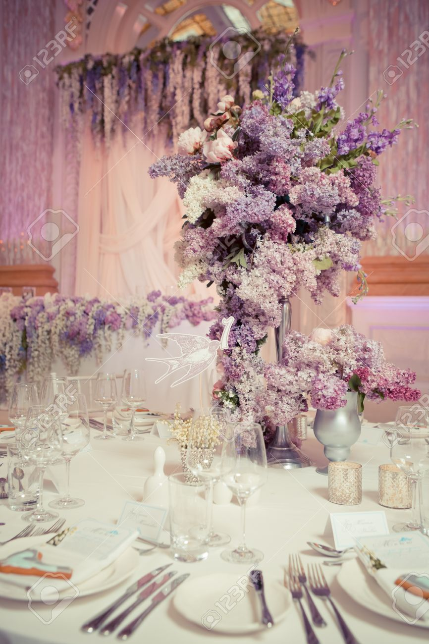 Festive Table Decoration In Lilac Colours Wedding Decorations Stock