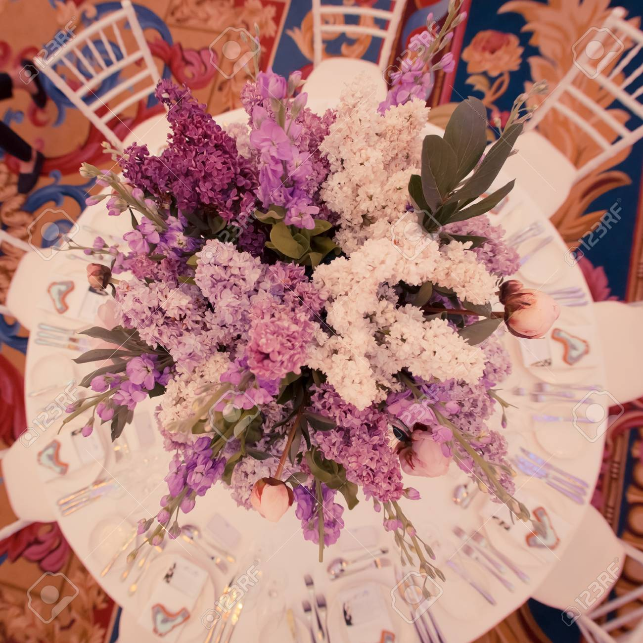 Festive Table Decoration In Lilac Colours Wedding Decorations Stock ...