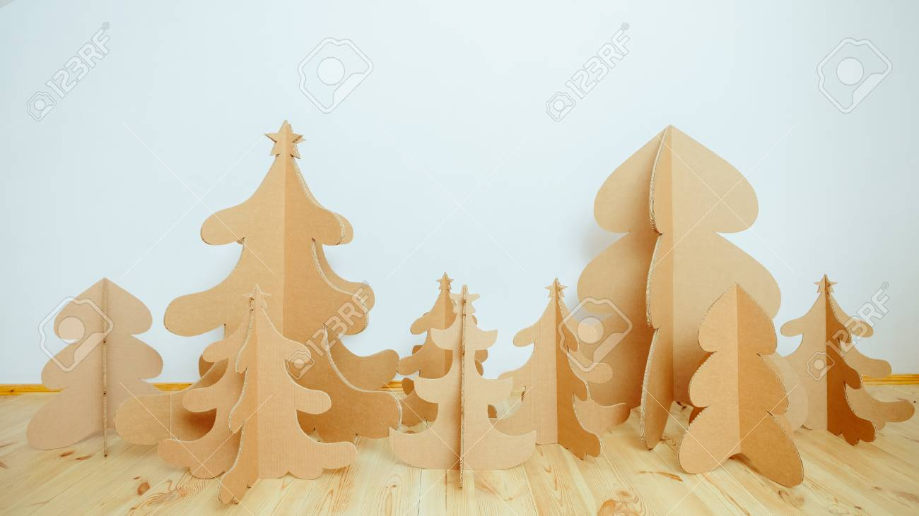 Christmas Tree Made Of Cardboard Unique Trees New Year Stock Photo