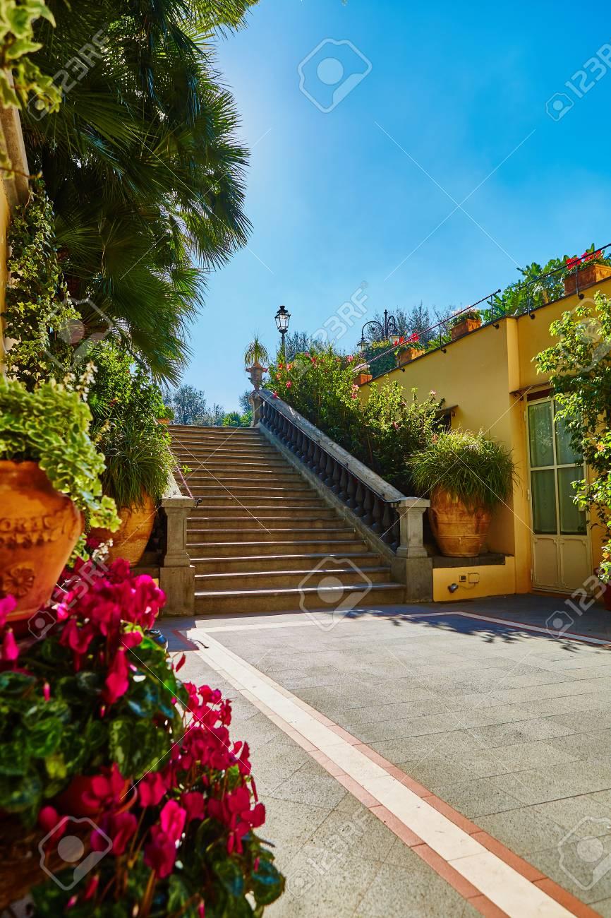 Escalier en béton Brown dans le jardin de la ville. Le soleil brille dans  la lentille