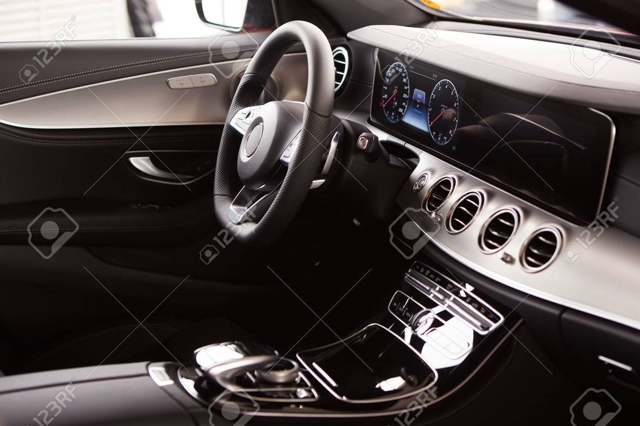 Luxury Car Interior Steering Wheel And Dashboard Stock Photo