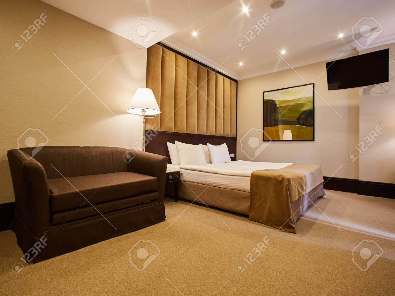 Belle décoration de chambre à coucher design d\'intérieur à l\'hôtel