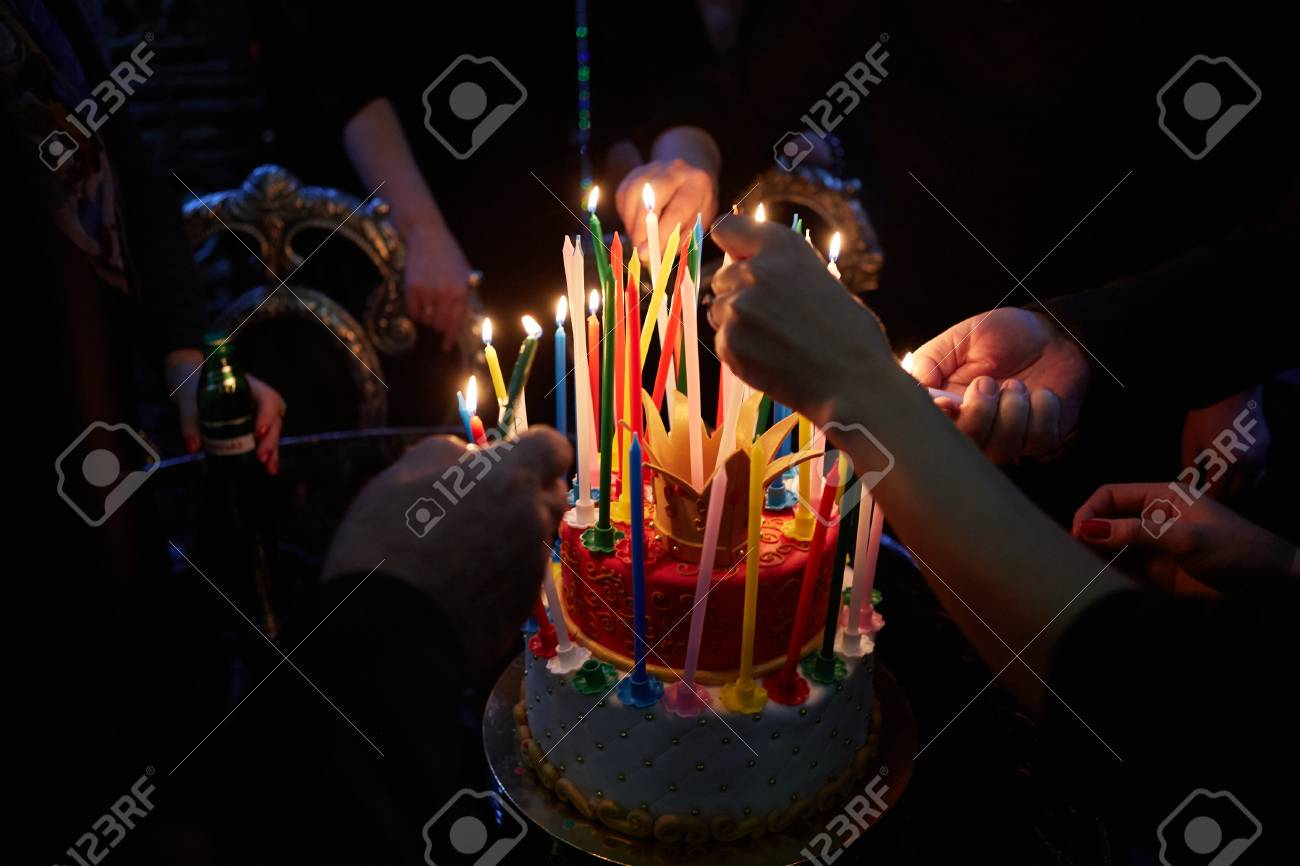 Blazing Amazing Birthday Candles Happy Stock Photo