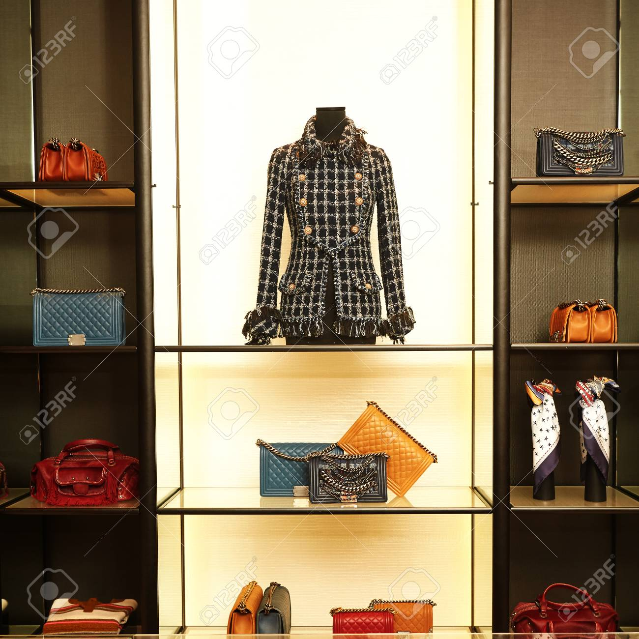 2fa8c0d4dd7d luxury and fashionable european different clothes shop Stock Photo -  97864310