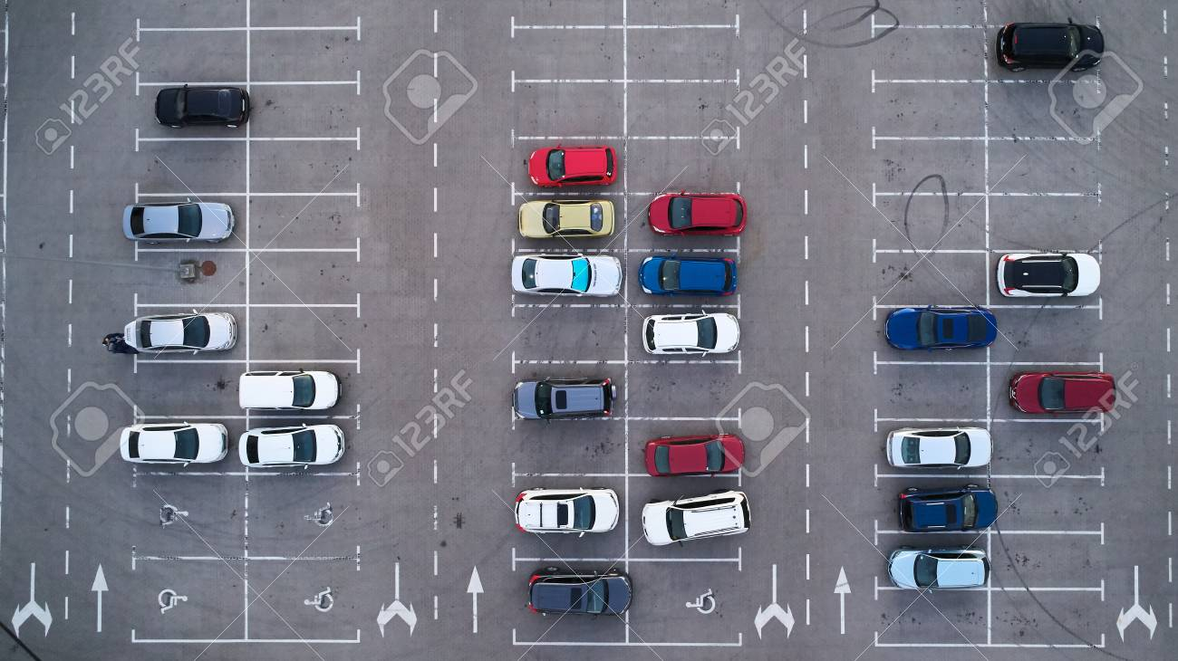 Car parking lot viewed from above, Aerial view. Top view - 110843998