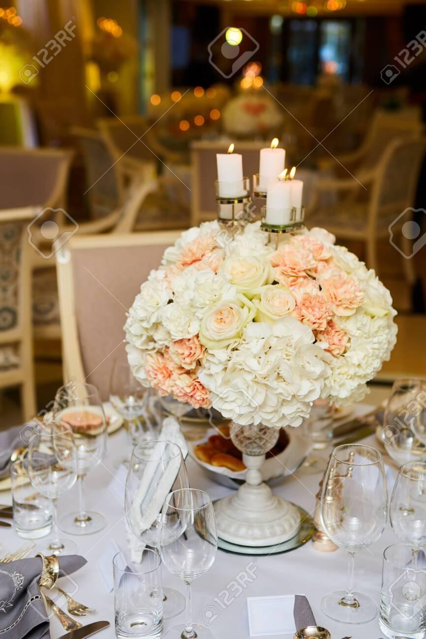The luxury, elegant wedding reception table arrangement. - 137443591