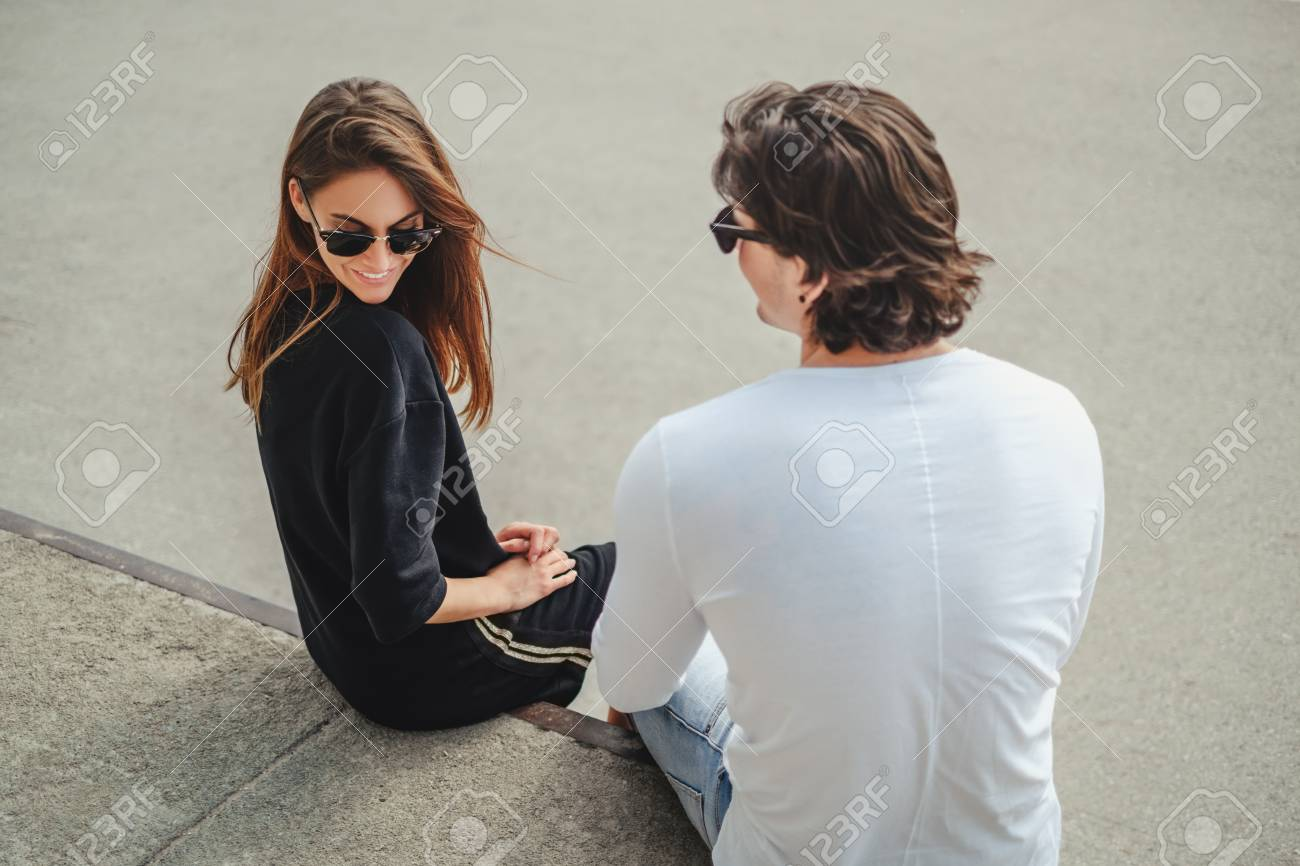 girl with boyfriend flirting
