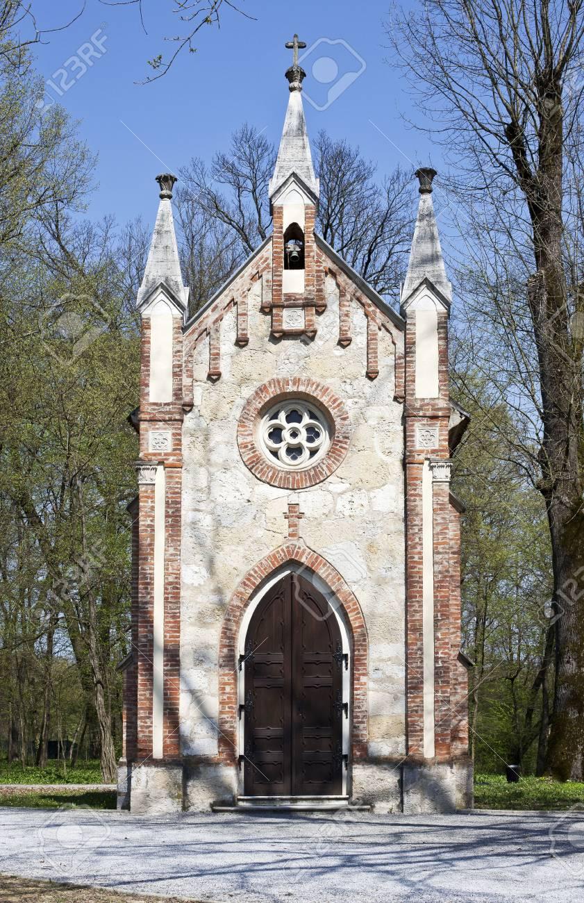 Catholic chapel in Novi Dvori forest in Zapresic, Croatia Stock Photo - 55118186