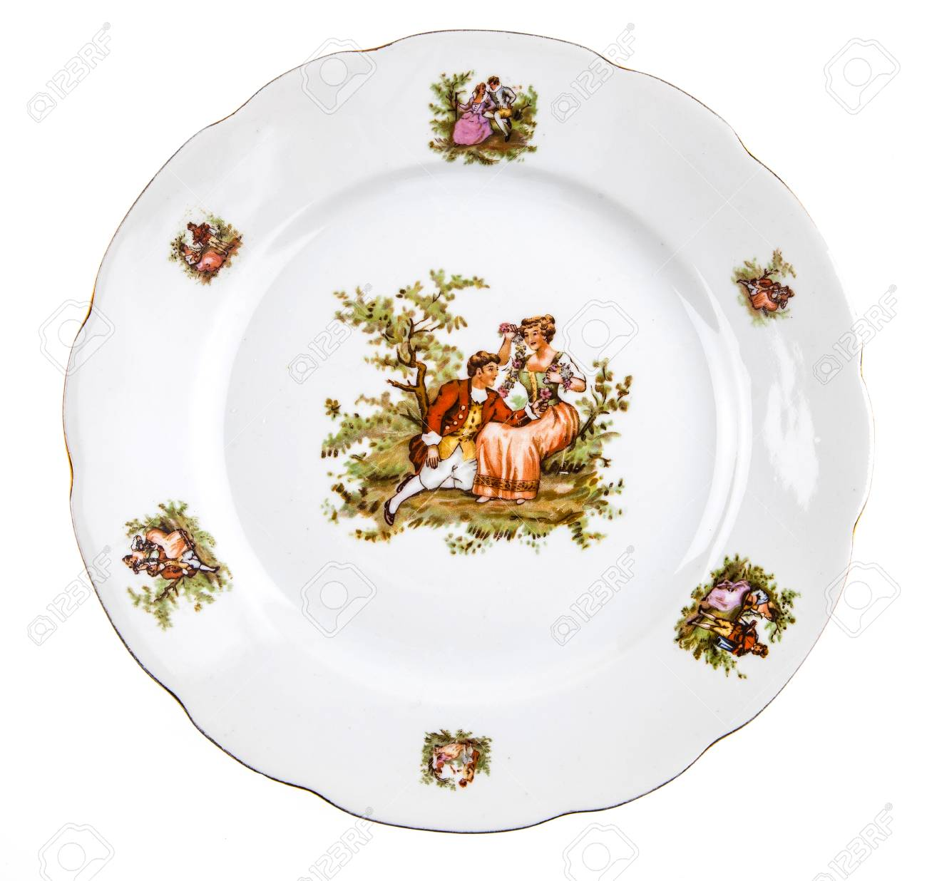 Rustic plate isolated on white Stock Photo - 55145219