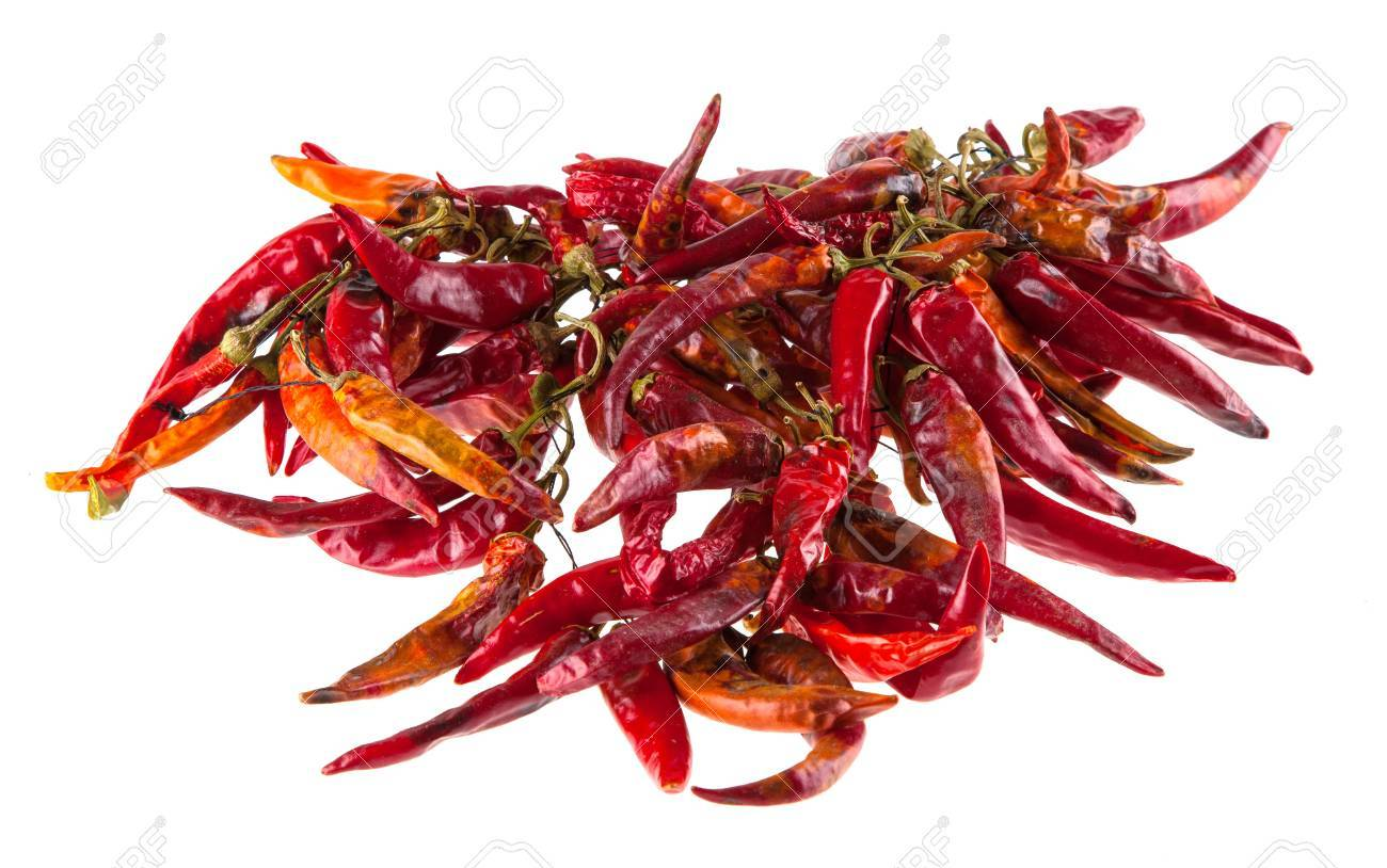 String with dry hot peppers Stock Photo - 55145210