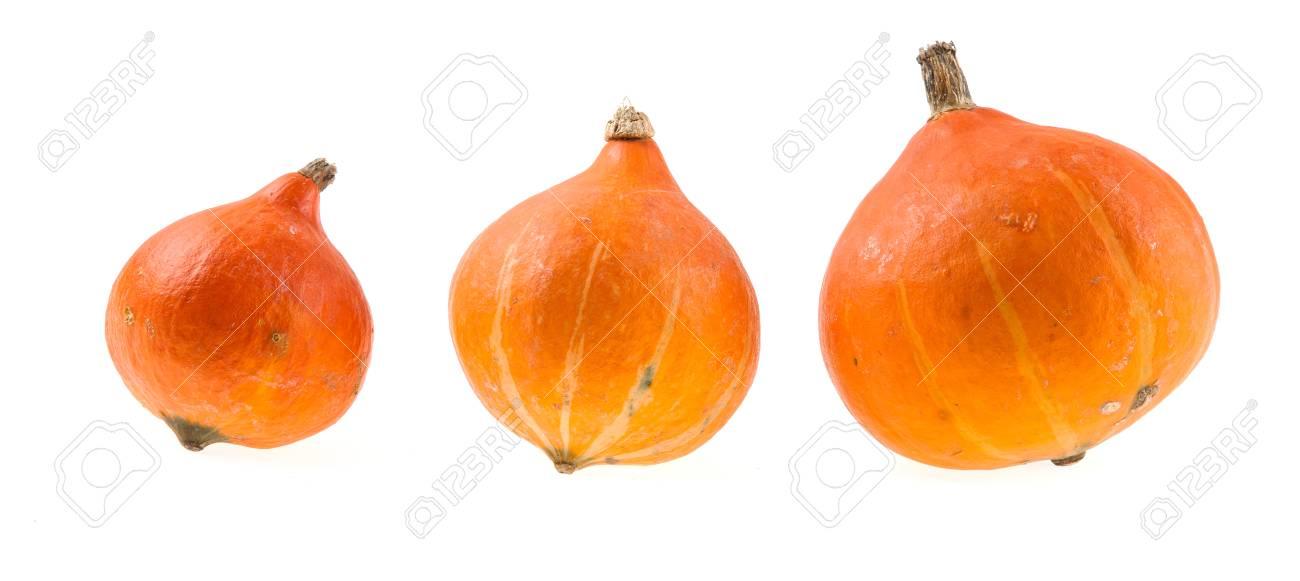 Three Hokaido pumpkins isolated Stock Photo - 55145220