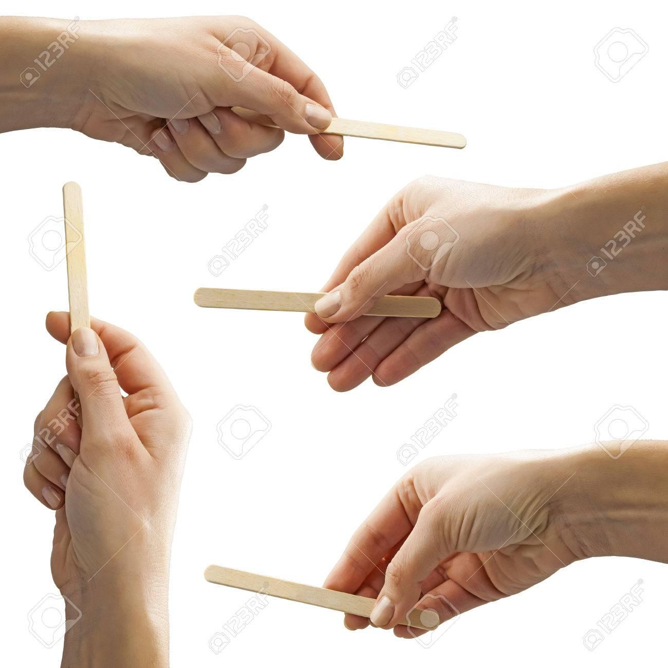 set of isolated female hands holding empty ice cream stick Stock Photo - 59927307