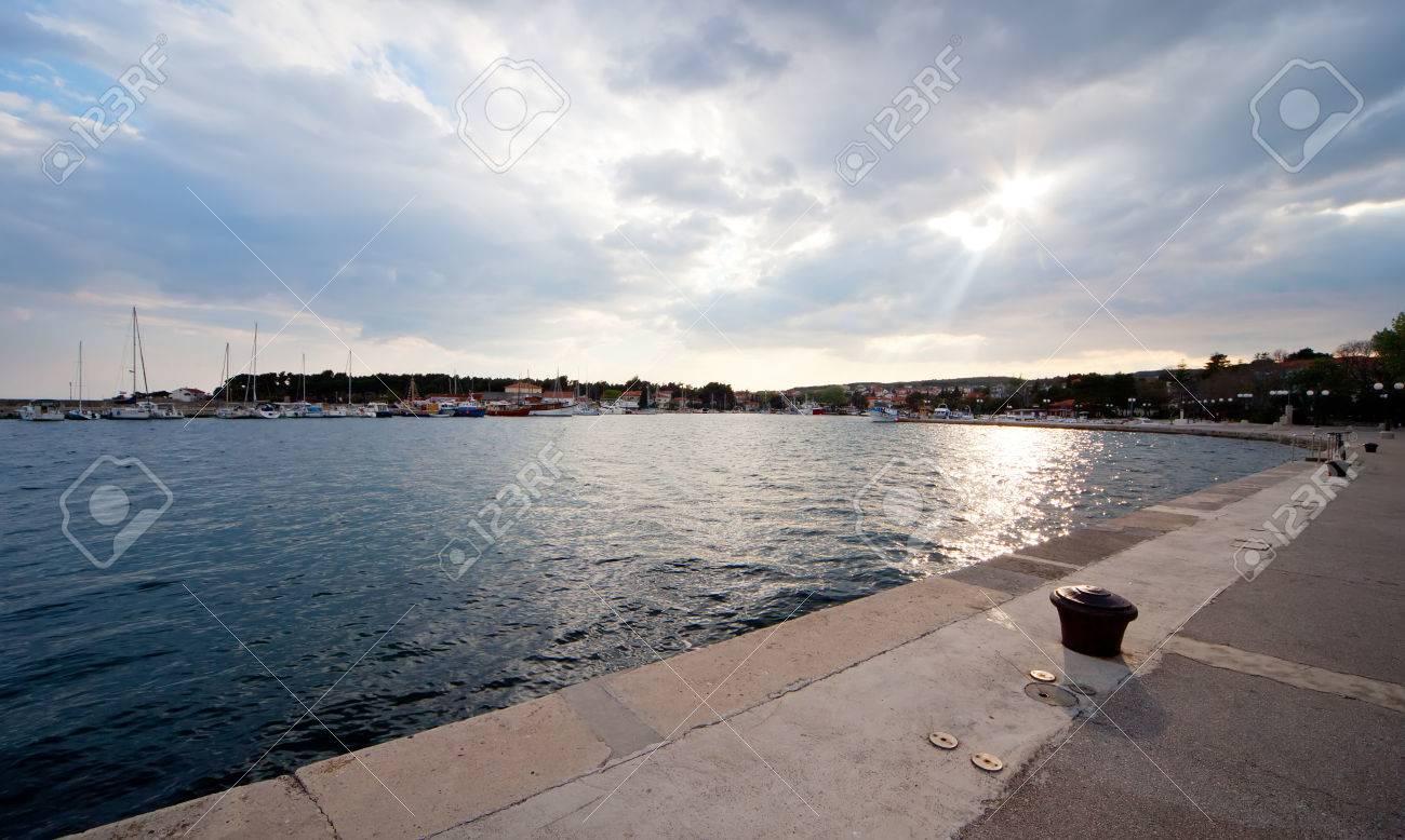 Port in Krk, island Krk Croatia, before the storm Stock Photo - 75977784