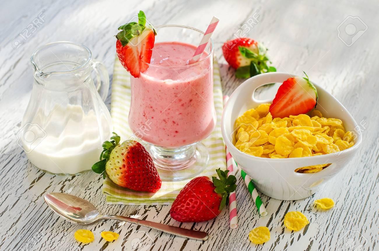 Fresh healthy breakfast with fruits and milk shake horizontal - 42267923