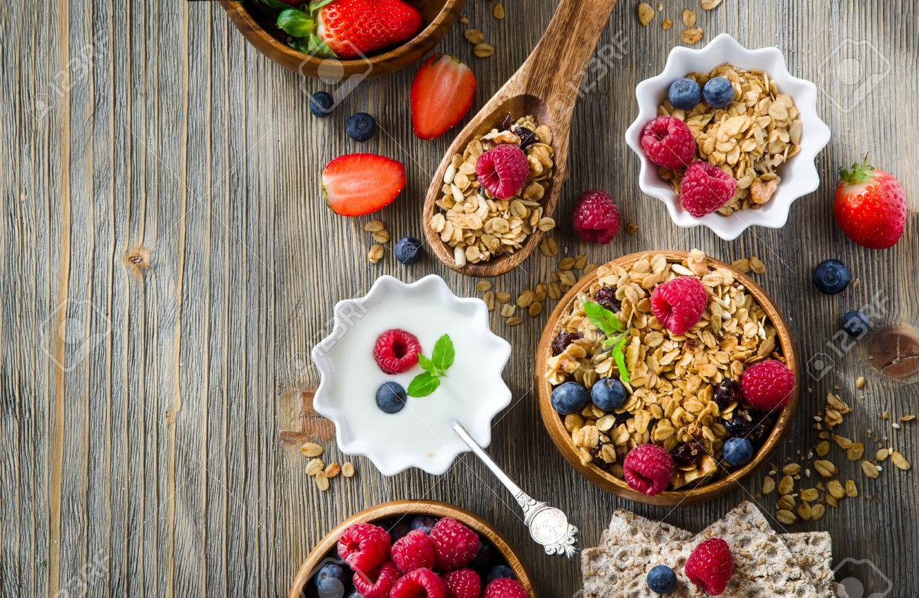Breakfast with rolled oats and berries sample text background - 54942644