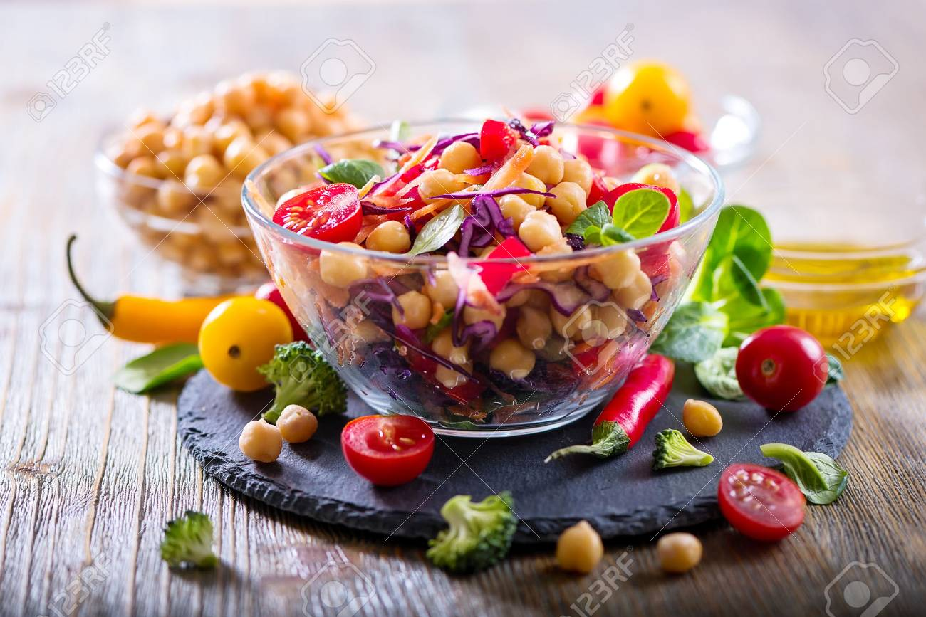 Healthy homemade fresh chickpea and veggies salad, diet, vegetarian, vegan food, vitamin snack - 68791091