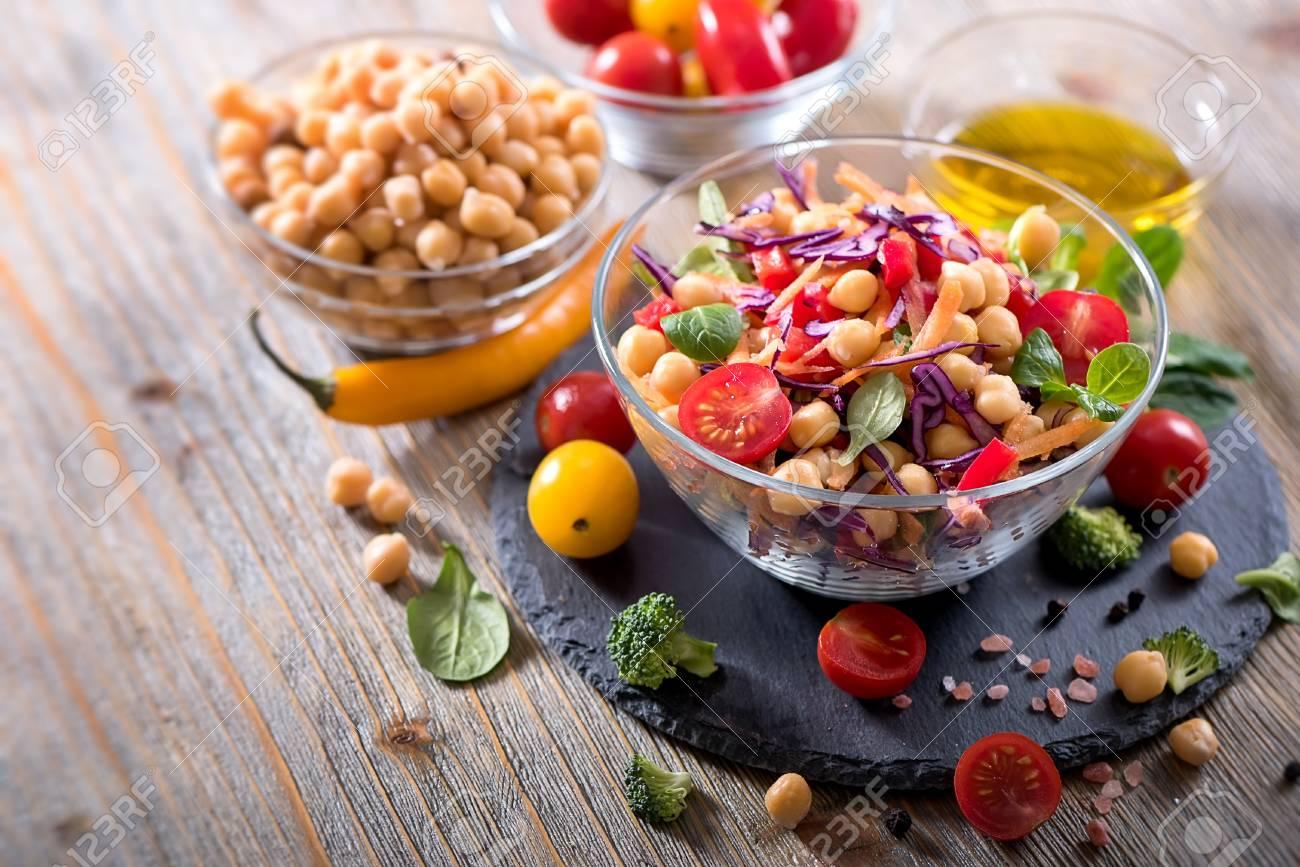 Vegan chickpea and veggies salad, diet, vegetarian, healthy food, vitamin snack - 78074989