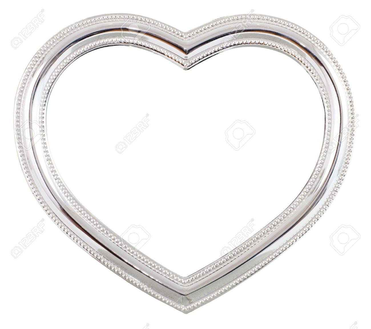 Silber Herzförmigen Bilderrahmen über Einen Weißen Hintergrund ...