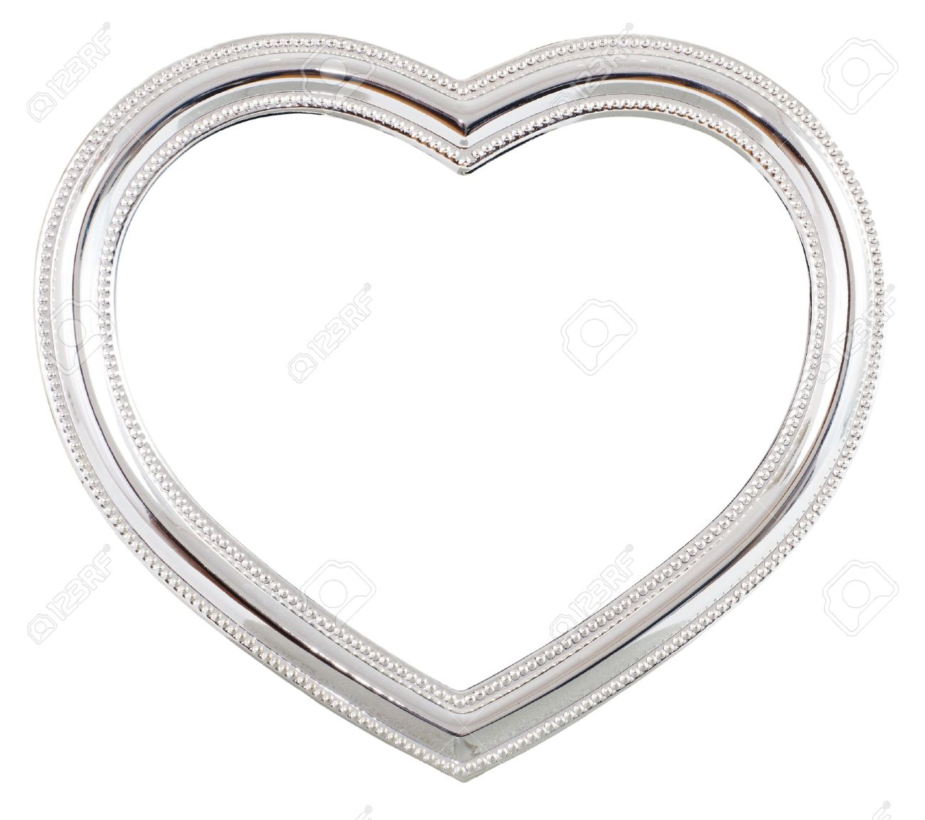Silver Heart Shaped Picture Frame Over A White Background Stock ...