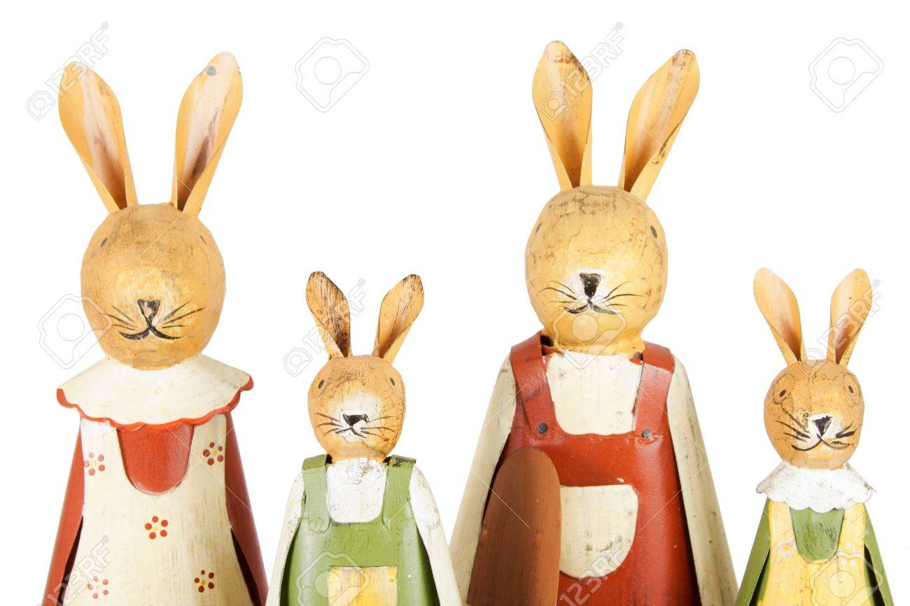 Detail of a family with four Easter bunnies over a white background Stock Photo - 12905634