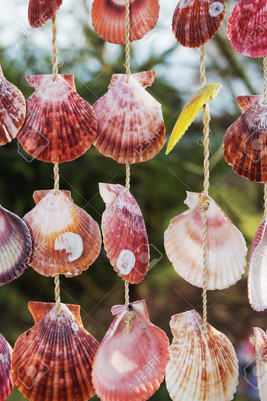 Decoration Made Of Many Colorful Hanging Shells In The Garden