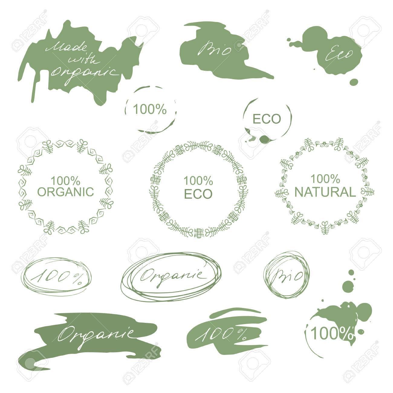 Set Of Natural Organic Eco Badges And Green Labels. Vector ...