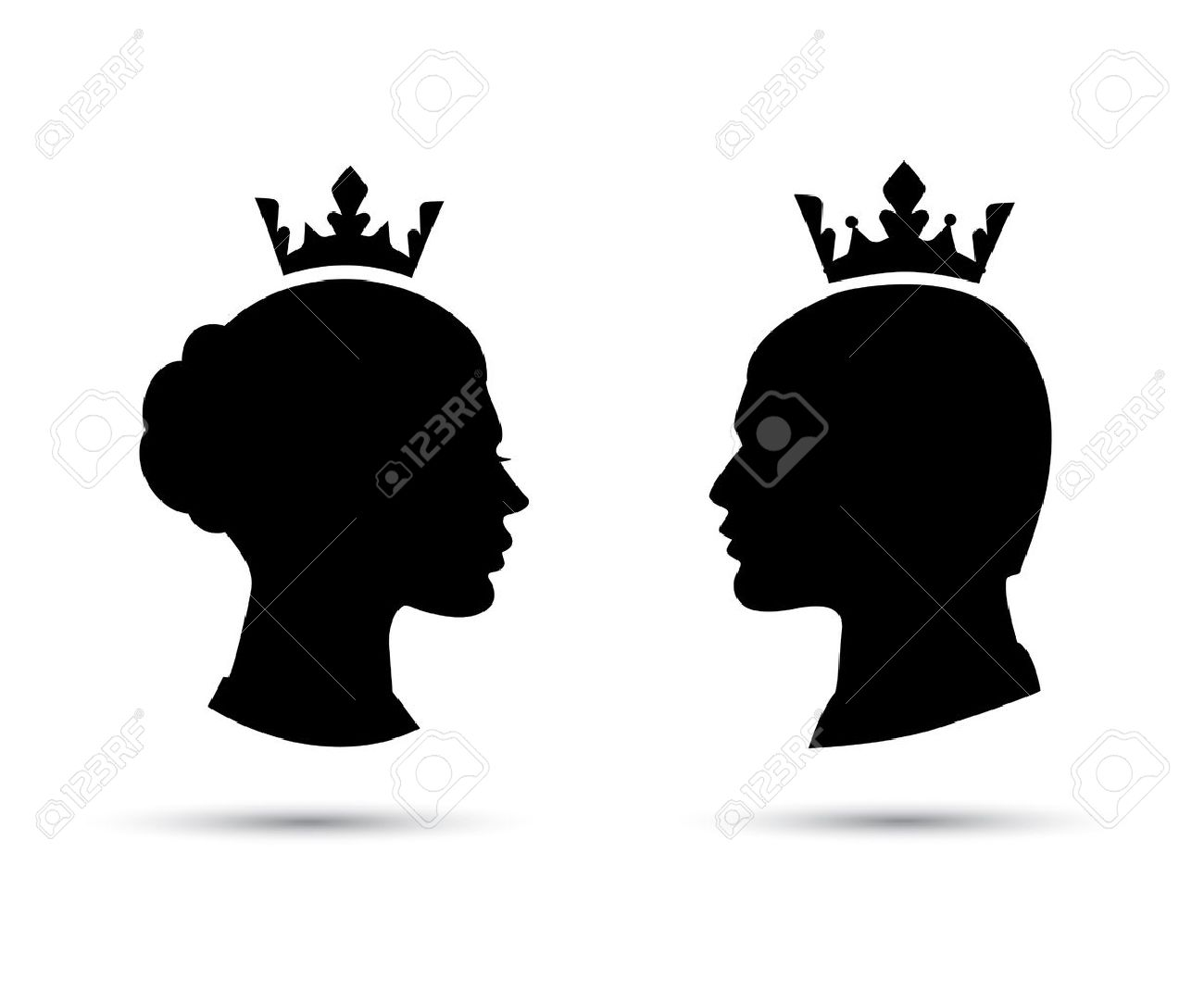 king and queen heads king and queen face black silhouette of