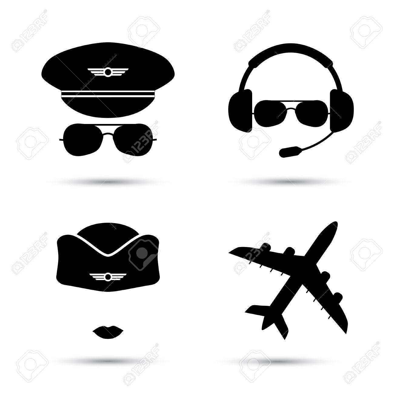 Azafata, Piloto, Silueta Del Avión. Iconos Negros De Tapa De Aviador ...