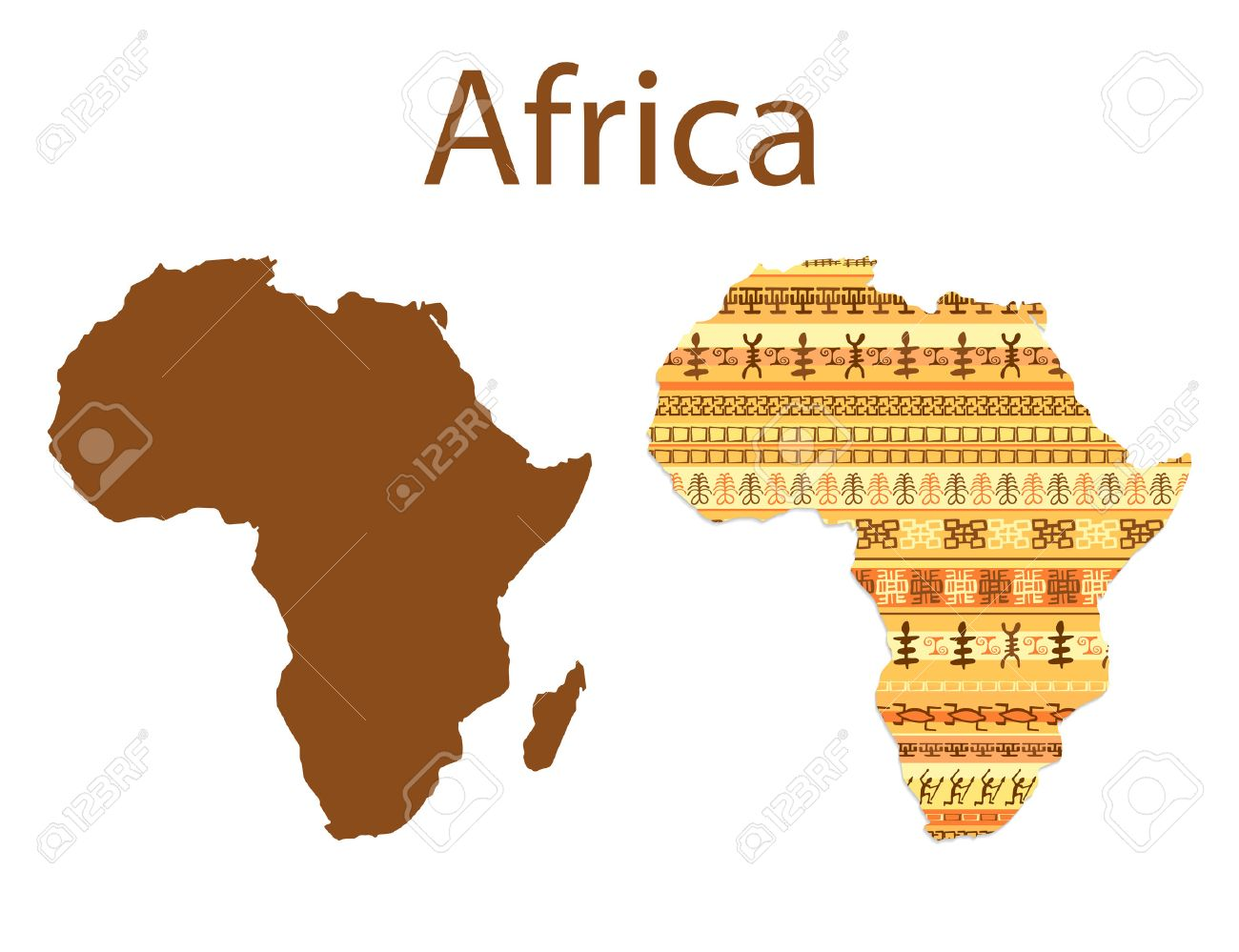 Map of Africa. Colorful ethnic african map pattern design with strips. Vector illustration - 53581558