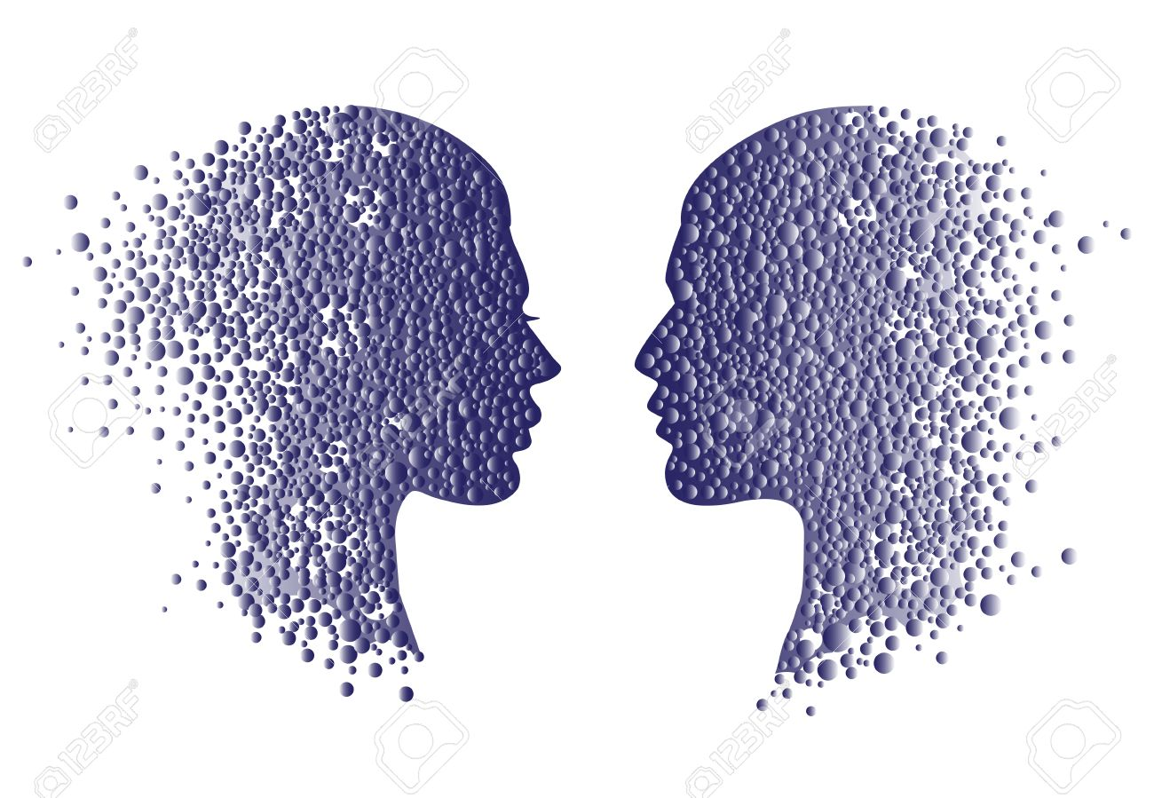 Man and woman head icons. Psychology concept illustration, vector art, logo design. Abstract couple face with gradient circles - 57352756