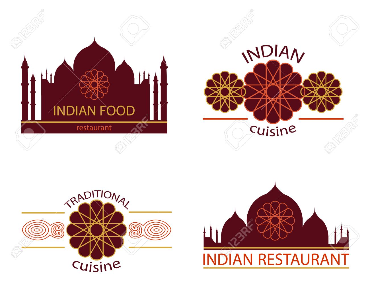 Indian Food Logo Creative Traditional Restaurant Icon Vector Royalty Free Cliparts Vectors And Stock Illustration Image 57733789