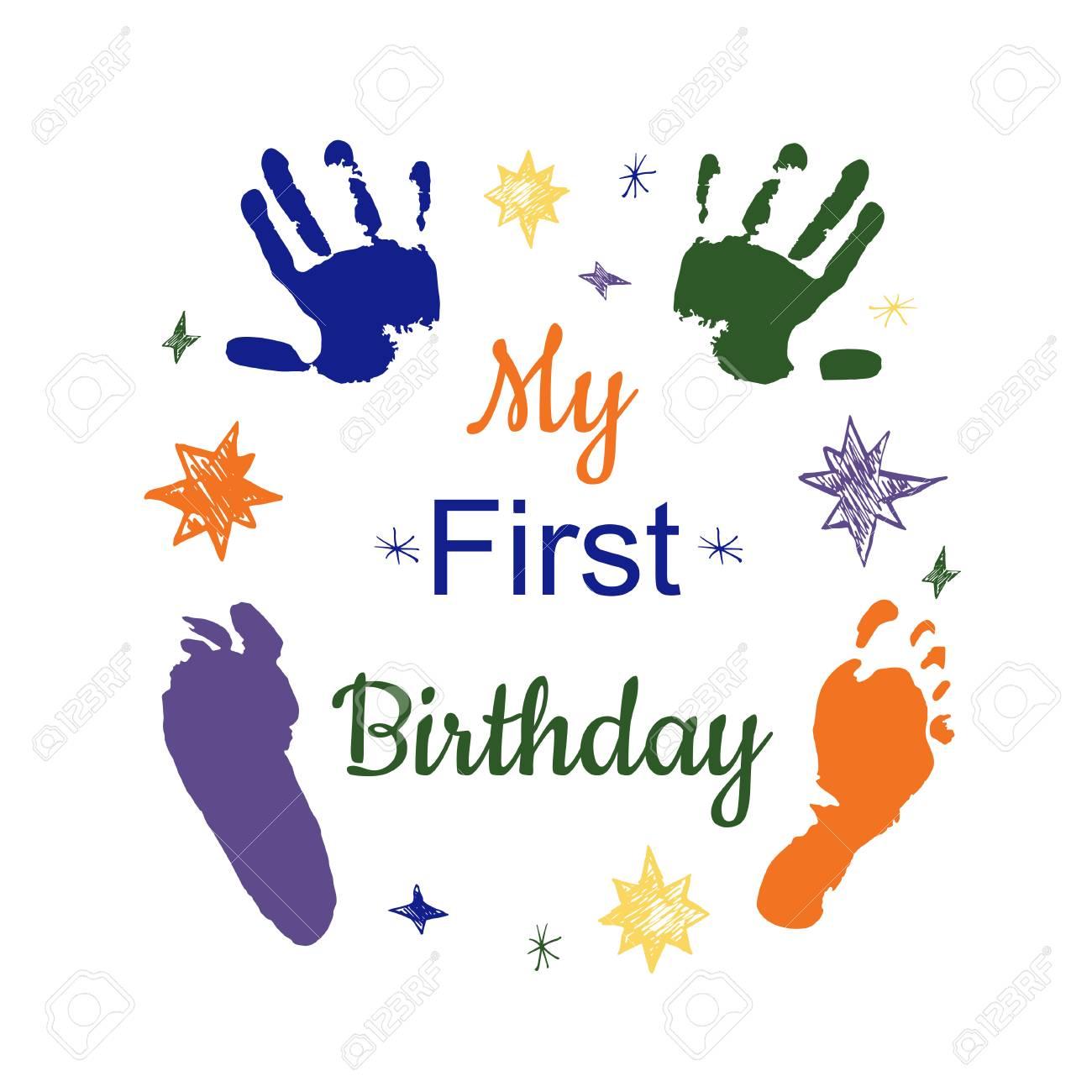 Mijn Eerste Verjaardag Concept Kleurrijke Voetafdruk En Hand