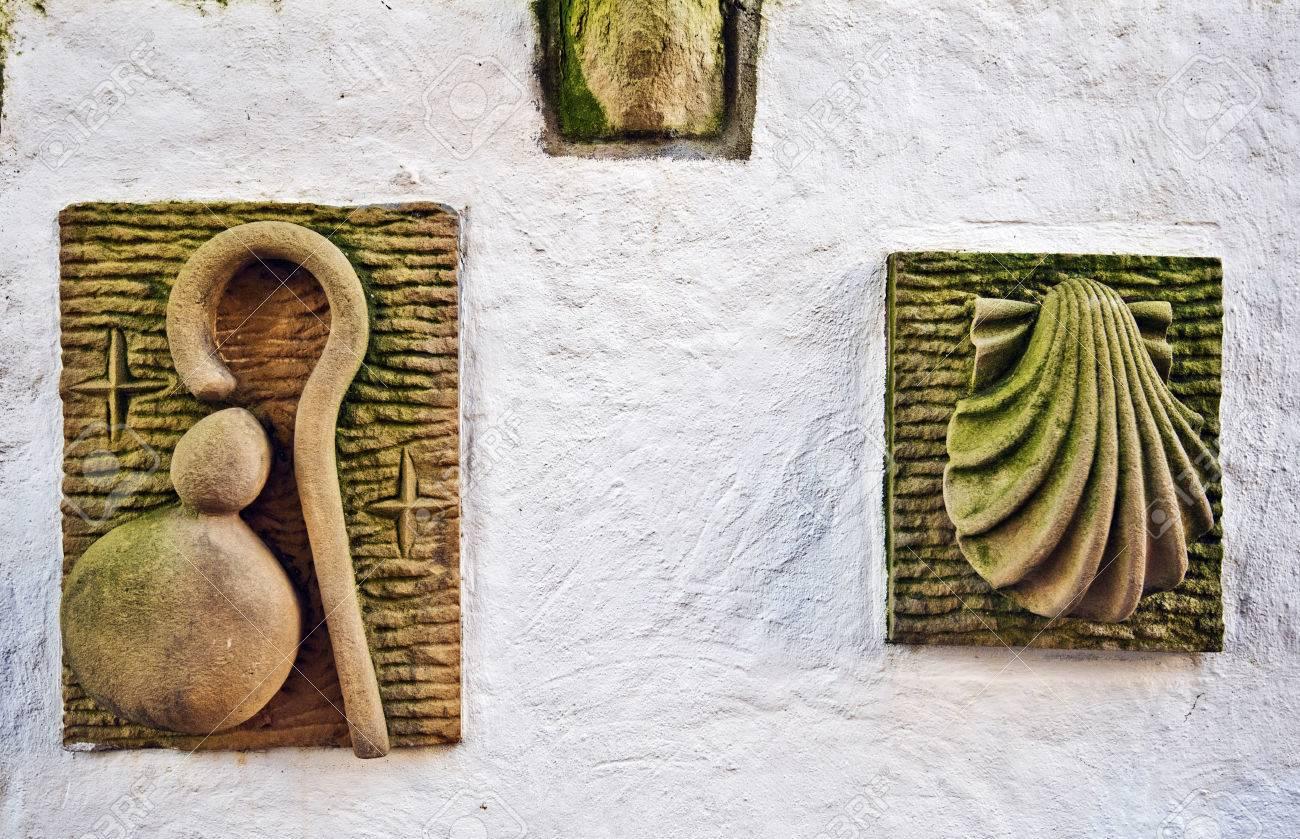 Sculptured Symbols Of Saint James Pilgrimage Scallop Shell And