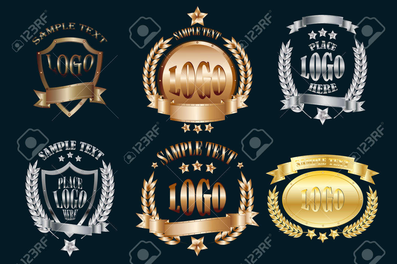 Set of metal emblems realistic icons isolated on black background - 126415628